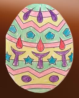 A Easter egg coloring page (with chalices) colored in