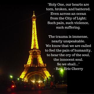 Pastoral Message for Paris over picture of Eifell Tower.
