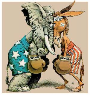 Political cartoon showing an elephant representing the G.O.P. and a donkey representing the Democratic Party, facing off wearing boxer shorts and boxing gloves