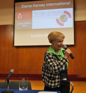Eryl Court was presented with the Elaine Harvey International Justice Award at the 2016 UU-UNO Spring Seminar in New York City