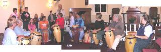 Group of all ages drumming.