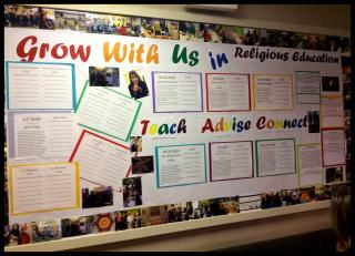 An RE Teacher Recruitment bulletin board.