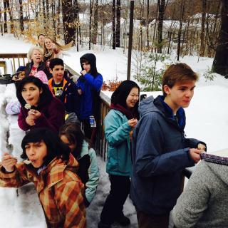 Junior Youth Group from Old Ship Church in Hingham, MA, enjoy maple sugaring