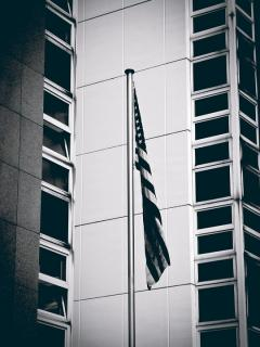 Black and white photo of american flag