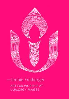 The UUA logo, rendered into a white doodle/zentangle, on a fuschia background.