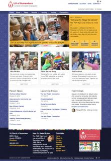 A screenshot of the UUA WordPress theme in use on a pretend congregation's website.