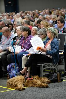 A service dog lays beneath the chair of a General Session participant.