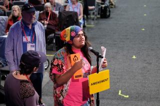 A colorfully dressed delegate speaks at the Amendment micophone