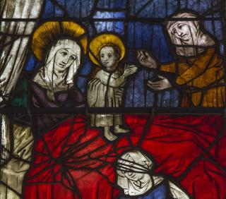 a medieval window from the Burrell Collection in Glasgow, Scotland, depicting the Nativity