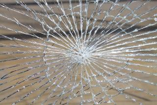 Shattered clear glass in a web pattern