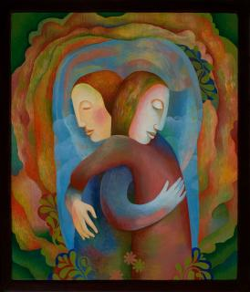 A painting of two people hugging each other to illustrate grief.