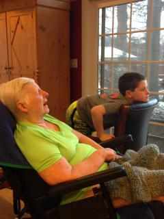 Enjoying Time Together: Jeffrey Norris watching TV with his grandmother, Carol, who has Lewy Body Dementia