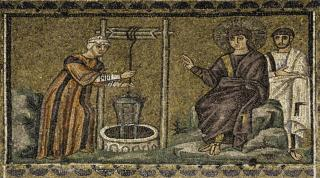 5th-century mosaic of the Samaritan Woman at the well is from Sant'Apollinare Nuovo in Ravenna, Italy.
