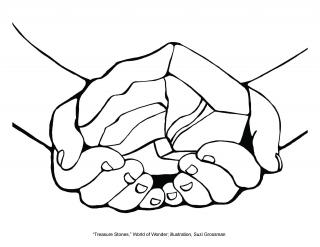 Line drawing of two hands, palms up, holding