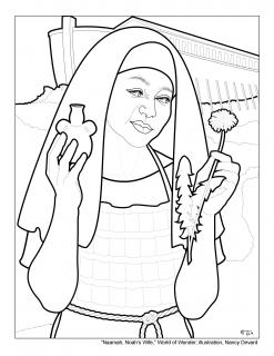 Line drawing of a friendly looking woman from biblical times holding a plant in each hand