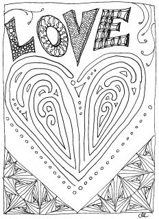 "The ""doodled"" word LOVE over a stylistic heart."