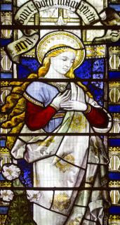 Detail from a stained-class window in St Mary's Episcopal Cathedral in Edinburgh, of Mary.