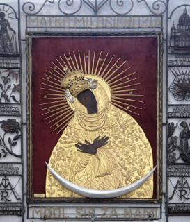 An icon of the black Madonna from St. Mary's church (Marienkirche) in Danzig.