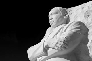 The Martin Luther King, Jr. statue -- looking up at his arms and face, with the black sky behind him -- at the 2011 Memorial on Washington, D.C.'s mall.