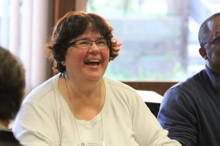 Rev. Meg Riley, senior minister of the UU Church of the Larger Fellowship, laughs.