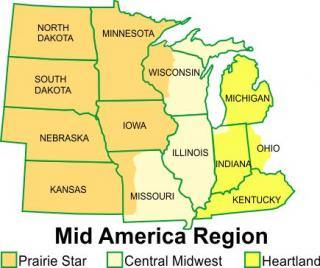 Map of MidAmerica Region's 13 states