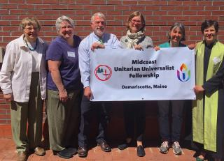 Members of the Midcoast Unitarian Universalist Fellowship's Welcoming Congregation Committee. Left to right: Sandra Barth, Carol Robins, John Adams, Julia Fitz-Randolph, Kate Pennington, and the Reverend Erika Hewitt.