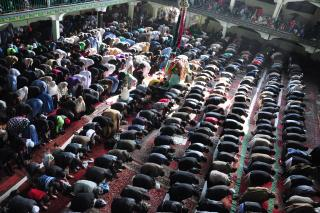 Muslim prayers in a mosque