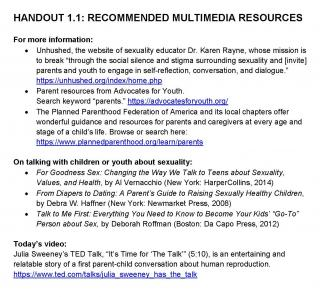 Recommended multimedia resources for session 1