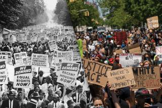 Left: Between 200,000 and 500,000 demonstrators march down Constitution Avenue during the March on Washington for Jobs and Freedom, Washington D.C., Aug. 28, 1963; Right: Protesters gather in Harlem to protest the recent death of George Floyd on May 30, 2