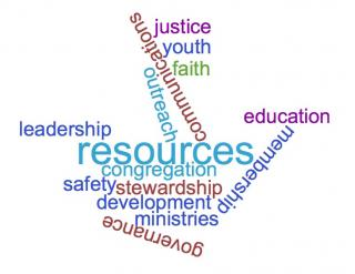word cloud of congregational life area resources