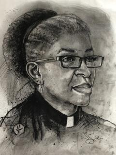 A charcoal sketch of Rev. Carol Cissel, in her clergy collar