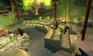 Avatars gather for worship at First UU Congregation of Second Life