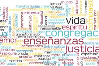Multicolored mosaic made with words of the seven Principles in Spanish, created with Wordle.