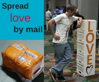 "the words ""Spread love by mail"" are in the top left corner over blue background. Under the words is a mailing package. Next to the words is a young white man leaning on a white plastic stand that says ""LOVE"""