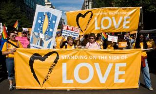 UU's marching with Standing on the Side of Love banners at 2009 LGBTQ Equality March.