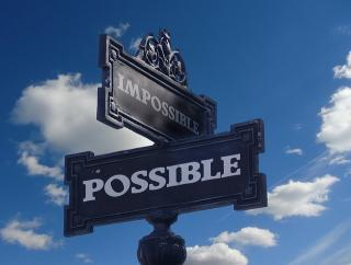 "Street signs labelled ""possible"" and ""impossible"""