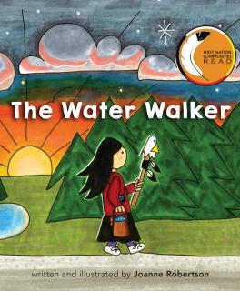 "Illustration of the book ""The Water Walker"" showing an Ojibwe woman walking in front of trees"