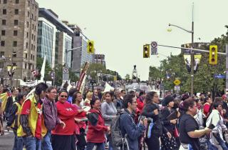 Crowd walking the Truth, Healing and Reconciliation Walk in Ottawa