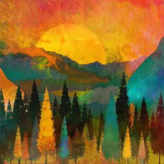 A gold and green painting of conifers, mountains, and a sun.