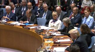 Members of the UN Security Council listen as UK Prime Minister Theresa May speaks at the Sept. 26, 2018 session on weapons of mass destruction