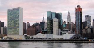 A view of the United Nations headquarters against the New York City skyline, viewed from Roosevelt Island.