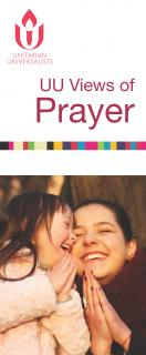 UU Views of Prayer Cover. Woman and child praying and laughing
