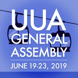 "The text ""UUA General Assembly, June 19-23, 2019"" with background of sky ride gondolas."