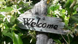 Wood welcome sign surrounded by foliage