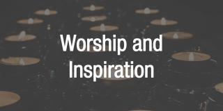 Worship and inspiration, text over image of tealight candles