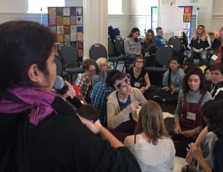 Youth exploring spirituality and activism during a workshop led by UU College of Social Justice during UU-UNO 2017 Intergenerational Spring Seminar