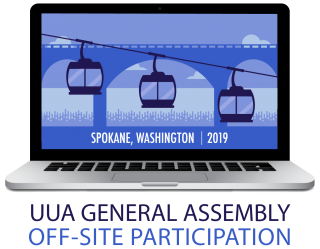 "The General Assembly logo is displayed on a laptop screen, above the words ""Off-site Participation"""