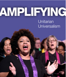 A group of UU worshipers singing serves as the cover of the Amplifying Catalog