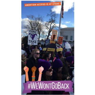 Snapchat text and filters makes a protest image more effective.