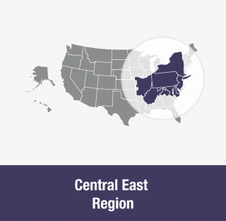 Central East Region: Connecticut (southern), Delaware, District of Columbia, Maryland, New Jersey, New York, Ohio (central and eastern), Pennsylvania, Virginia (northern), West Virginia